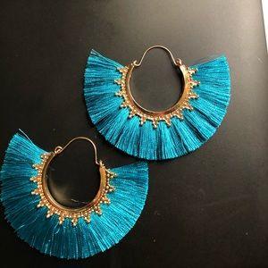 Blue frayed earrings